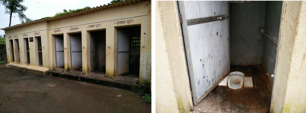 Figure 4 - a) Present arrangement of bathrooms and toilets on the campus; b) Indian-styled toilets with no flush tanks.